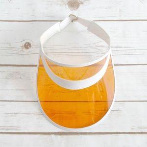 Orange Transparent Sun Visor Vinyl Unisex
